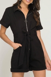 She + Sky Front Zip-Up Romper - Product Mini Image