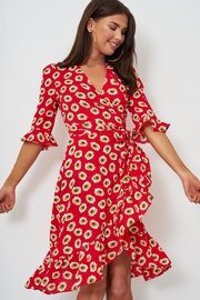 frontrow Red Floral Wrap Dress - Product Mini Image