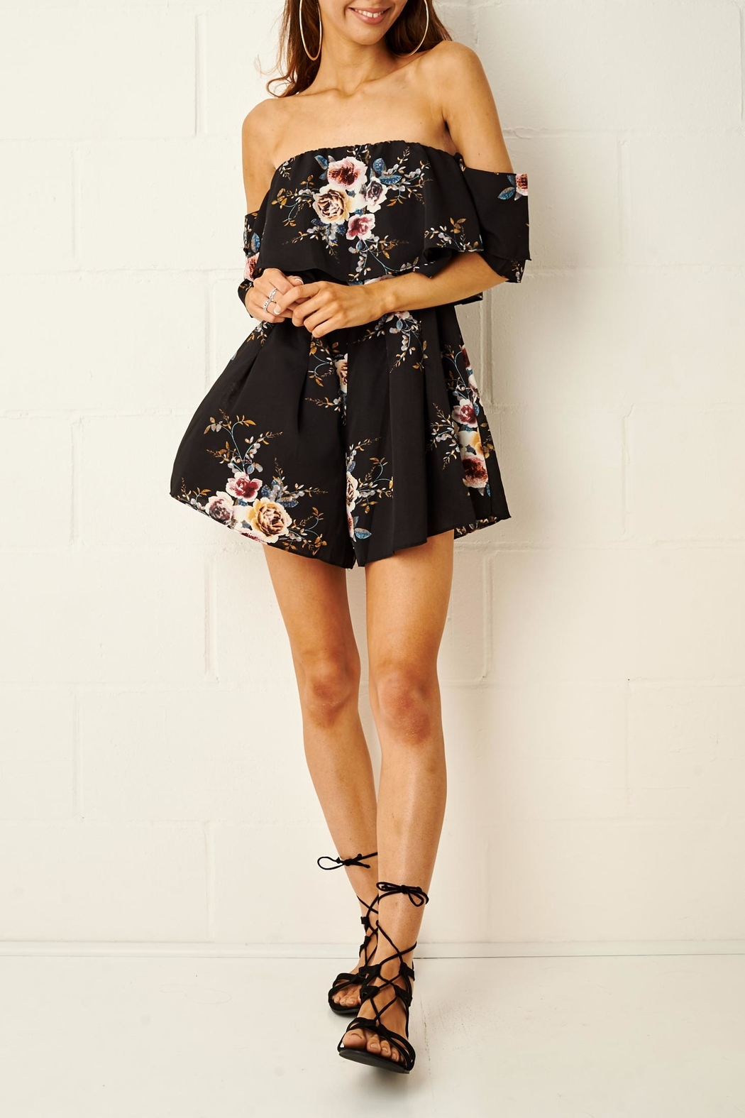 frontrow Bardot Floral Playsuit - Front Full Image