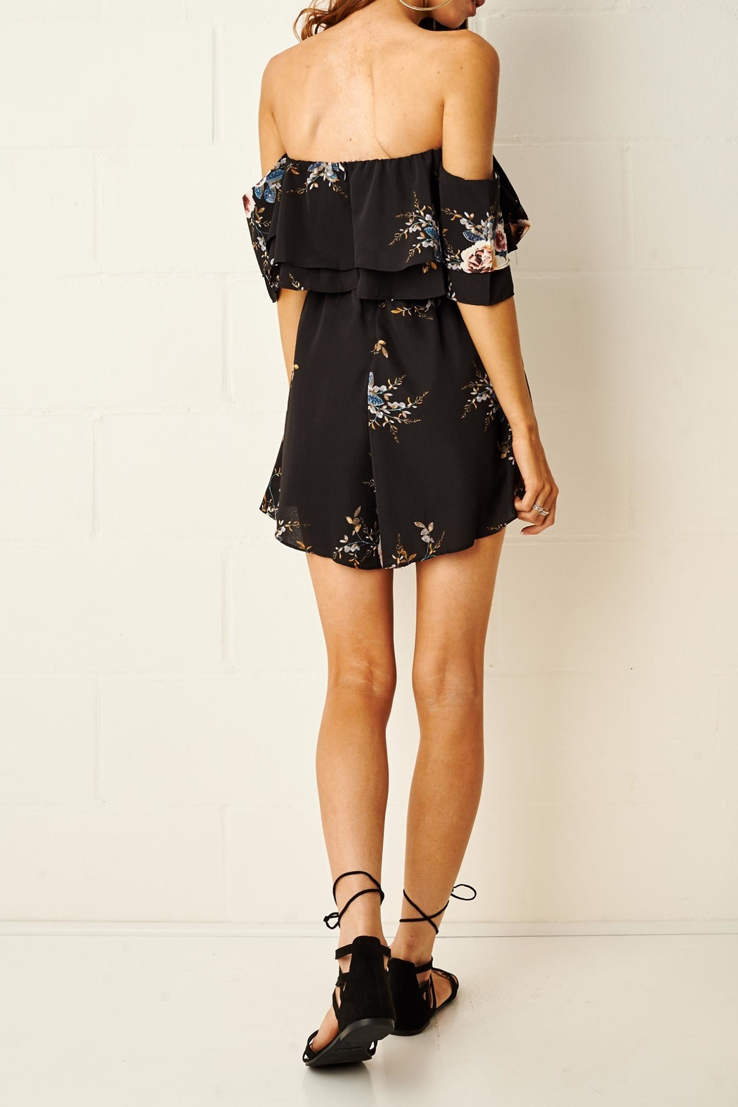 frontrow Bardot Floral Playsuit - Side Cropped Image