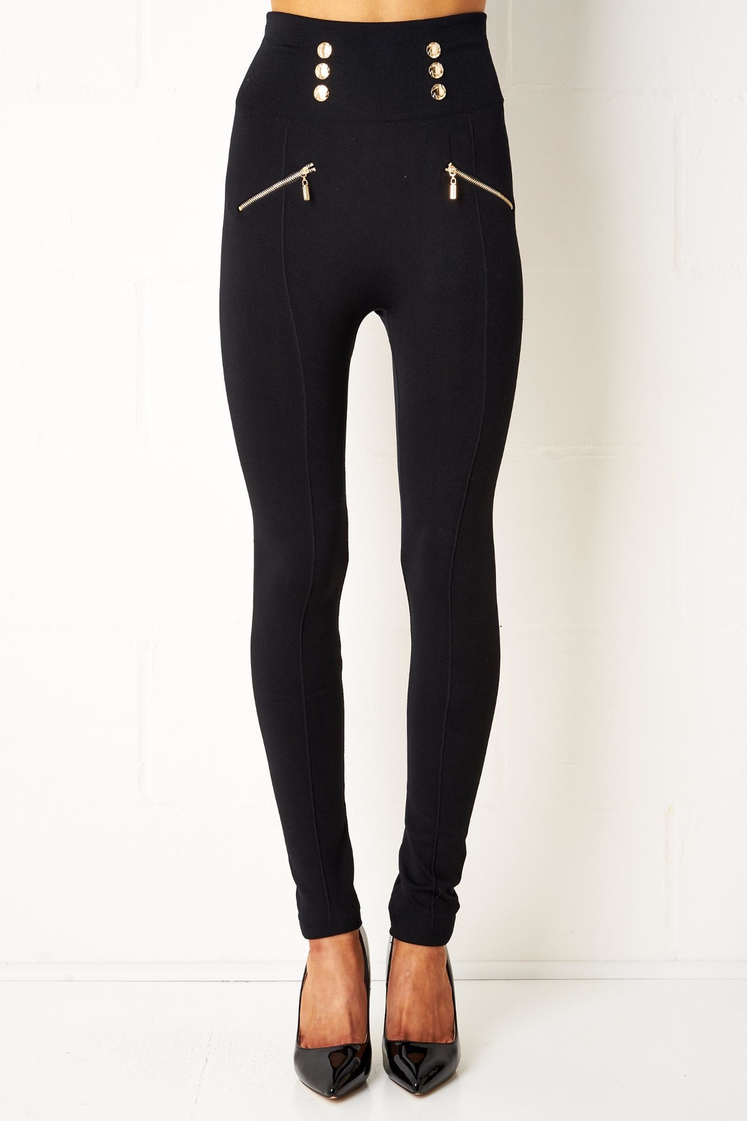 frontrow Black Gold Button Leggings - Front Cropped Image