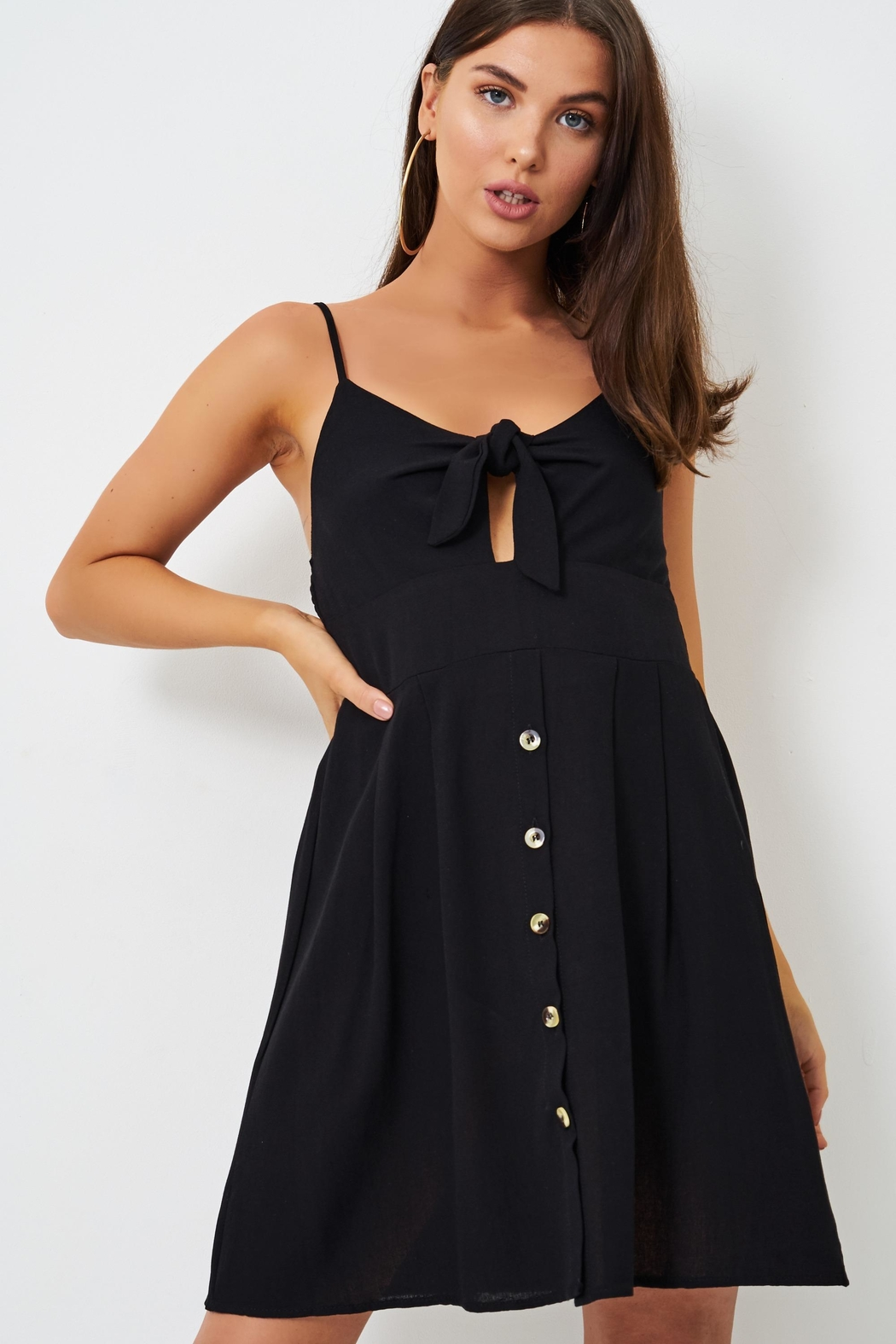 frontrow Black Knot-Detail Dress - Side Cropped Image