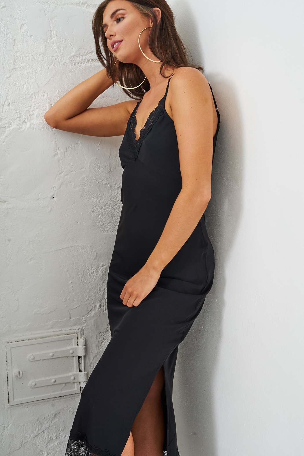 frontrow Black Lace Slip Dress - Side Cropped Image