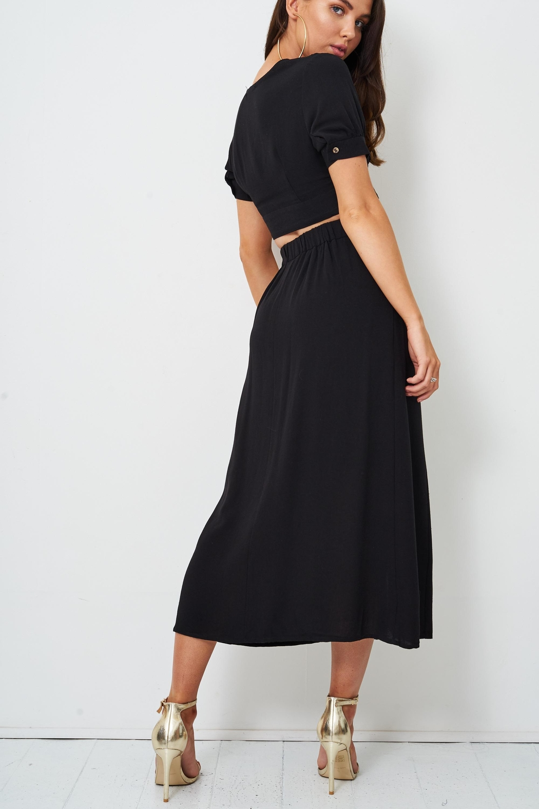 frontrow Black Midi Skirt - Side Cropped Image