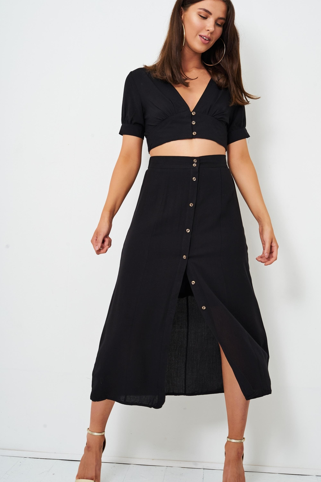 frontrow Black Midi Skirt - Front Cropped Image