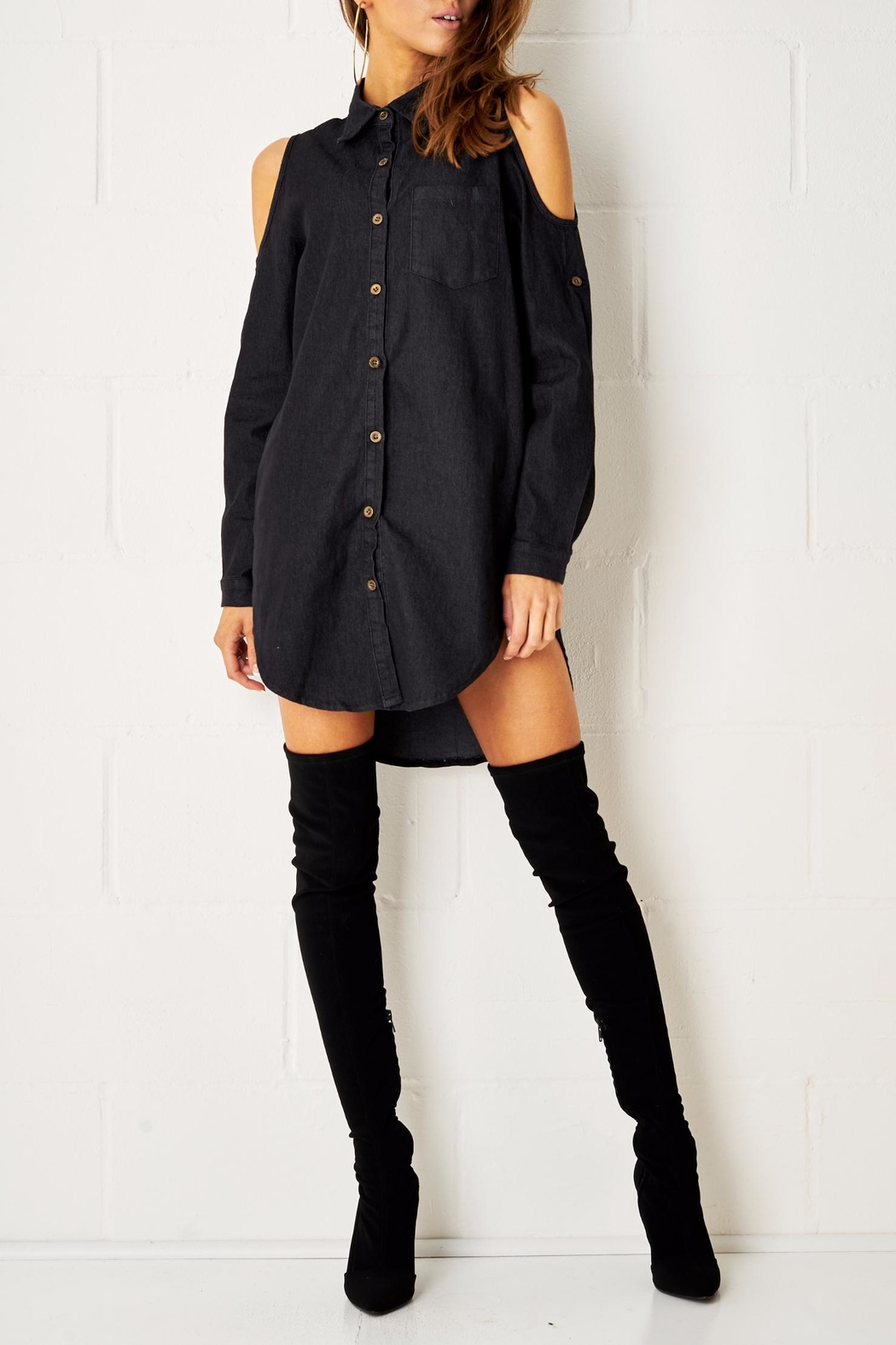 frontrow Black Shirt Dress - Front Cropped Image