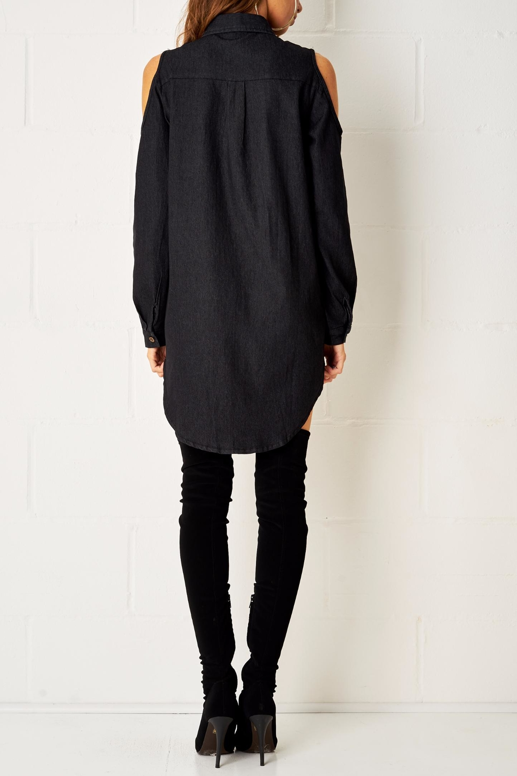 frontrow Black Shirt Dress - Side Cropped Image