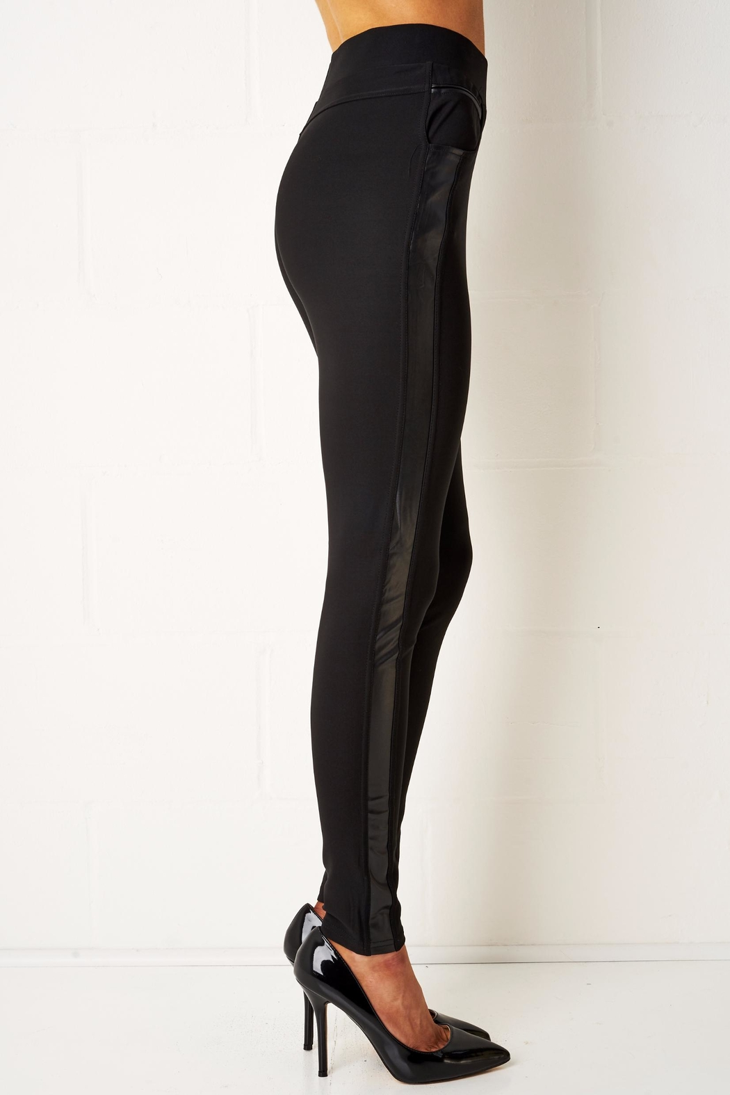 frontrow Black Side Panel Leggings - Front Full Image