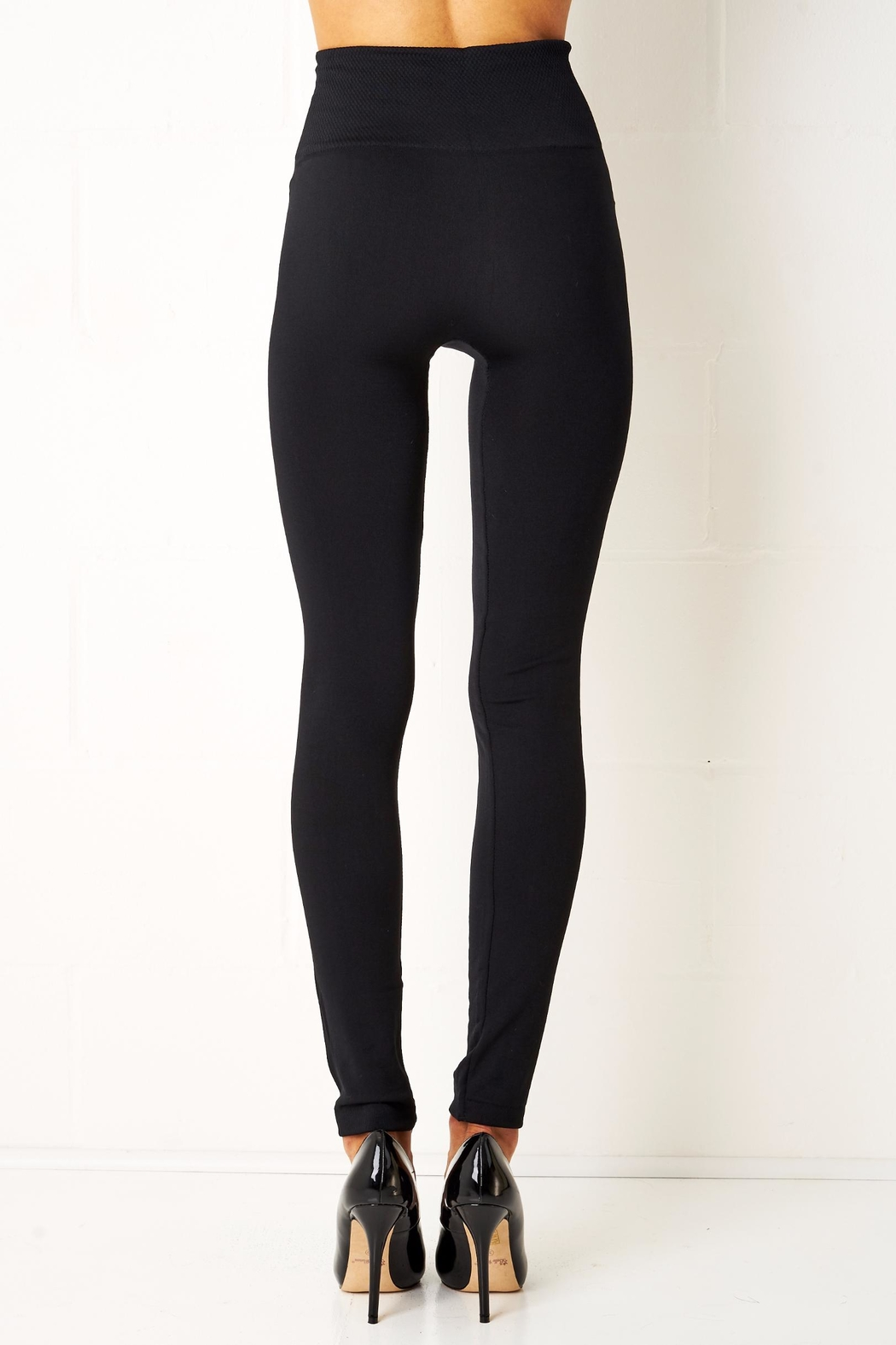 frontrow Black Thermal Leggings - Side Cropped Image