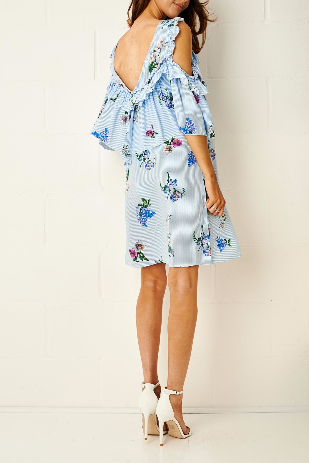 frontrow Blue Floral Dress - Side Cropped Image