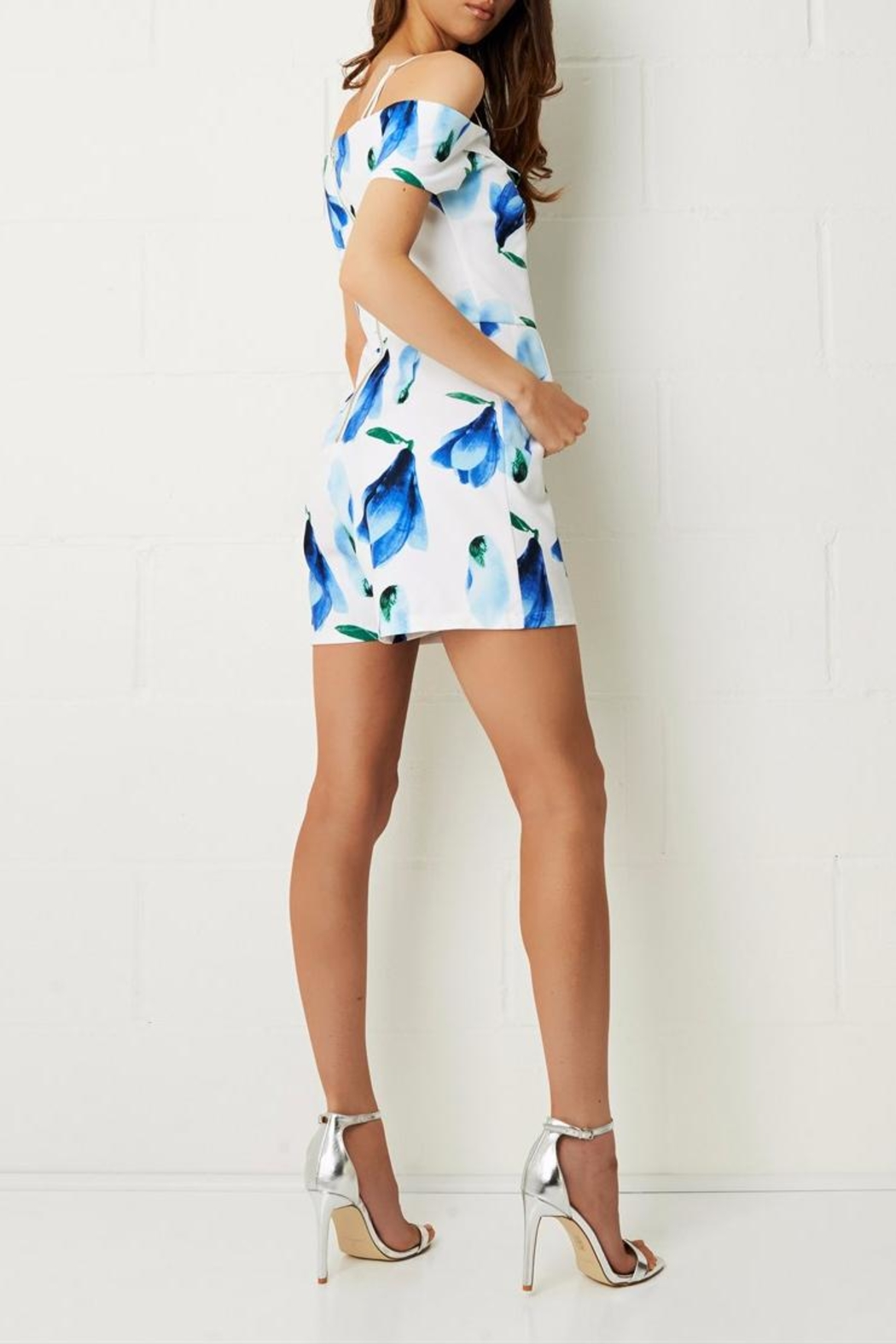 frontrow Blue Floral Playsuit - Side Cropped Image