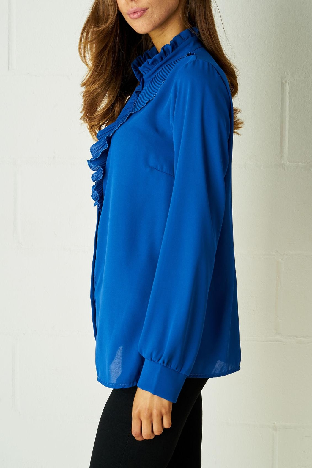 frontrow Blue Ruffle Blouse - Front Full Image