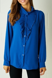 frontrow Blue Ruffle Blouse - Front cropped