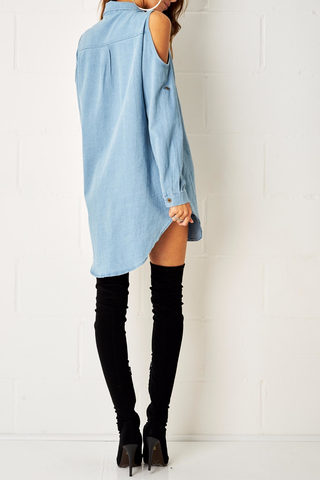 frontrow Blue Shirt Dress - Side Cropped Image