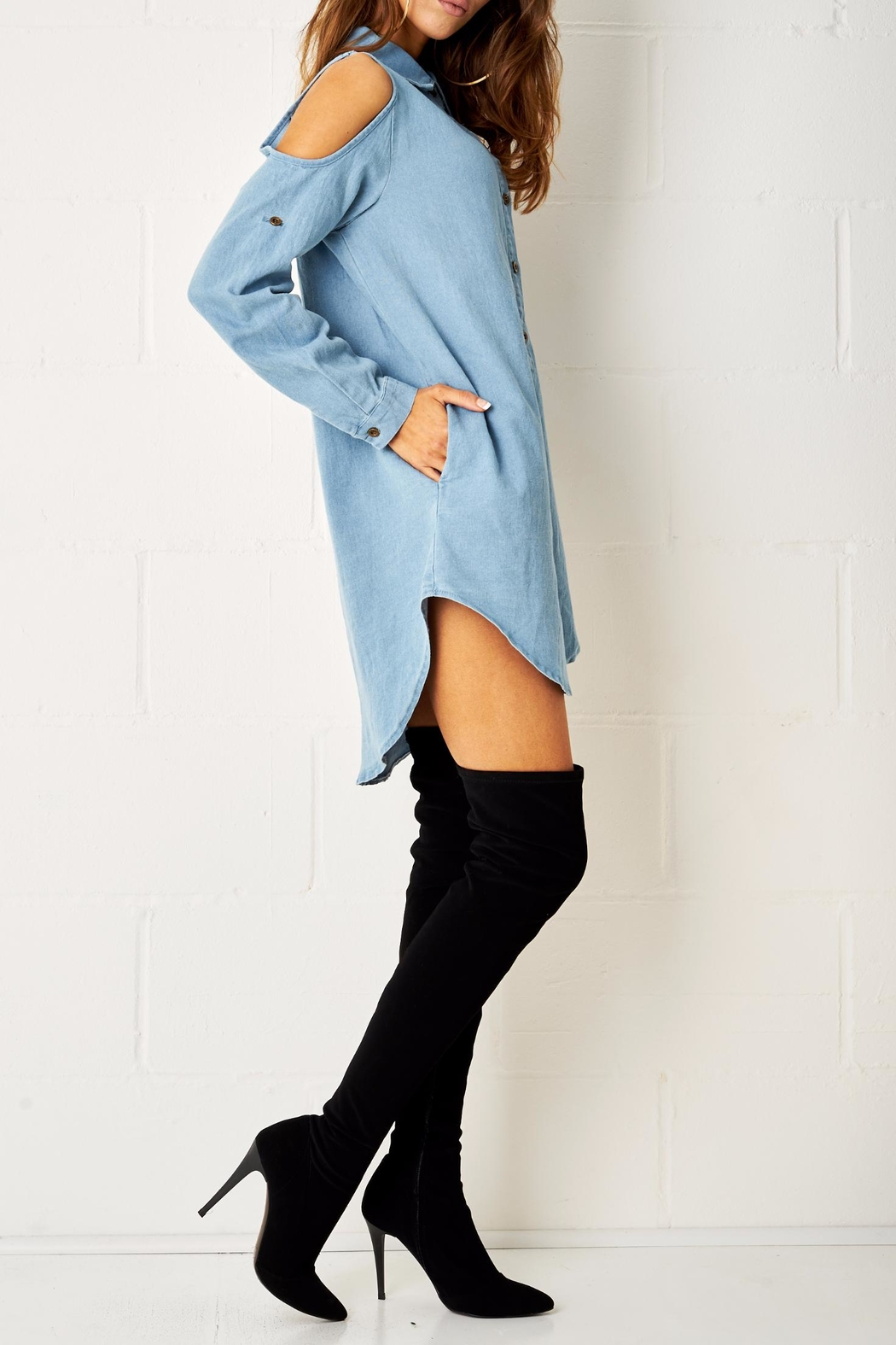 frontrow Blue Shirt Dress - Front Full Image