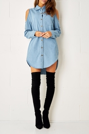 frontrow Blue Shirt Dress - Front cropped