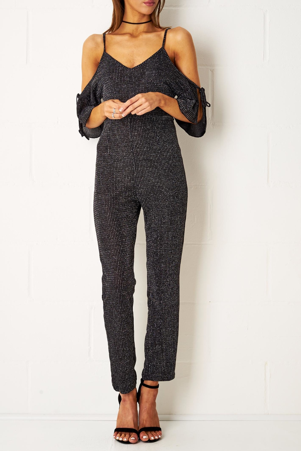 frontrow Cold Shoulder Jumpsuit - Front Cropped Image