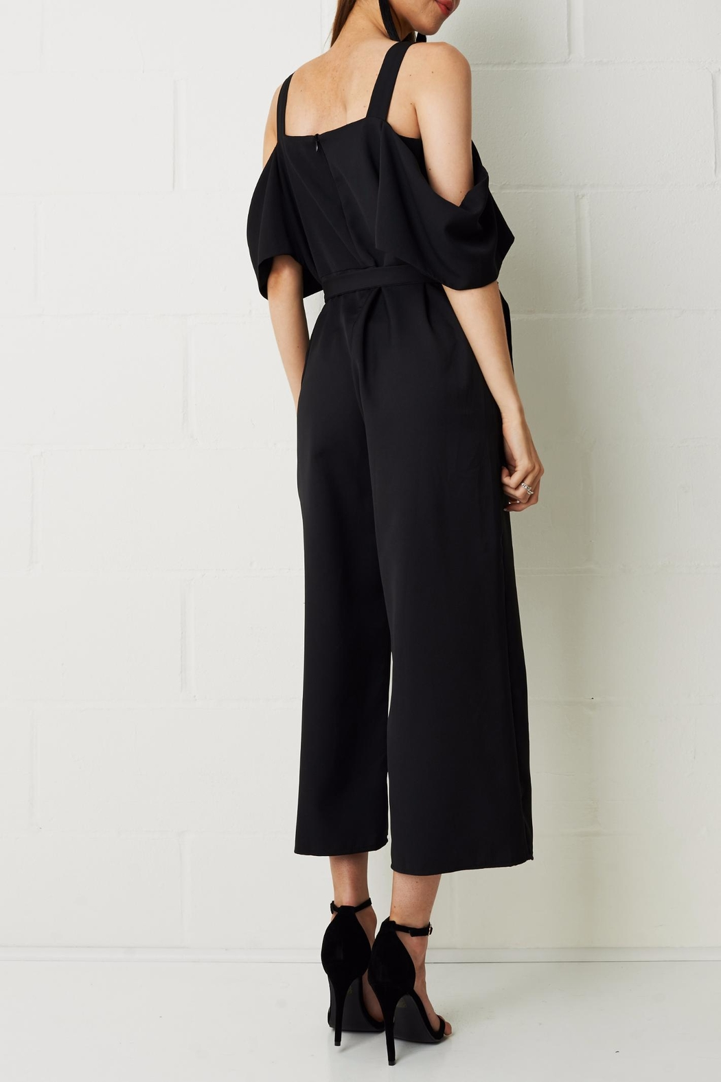 frontrow Thea Culotte Jumpsuit Black - Side Cropped Image