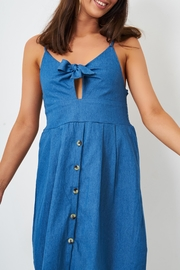 frontrow Denim Knot Detail Dress - Back cropped