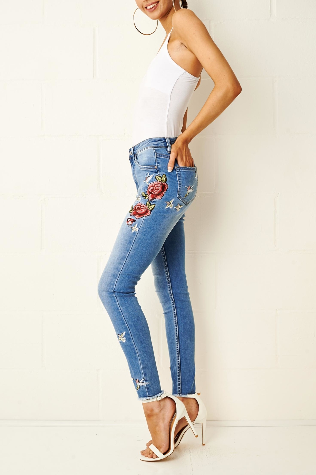 frontrow Embroidered Skinny Jeans - Side Cropped Image
