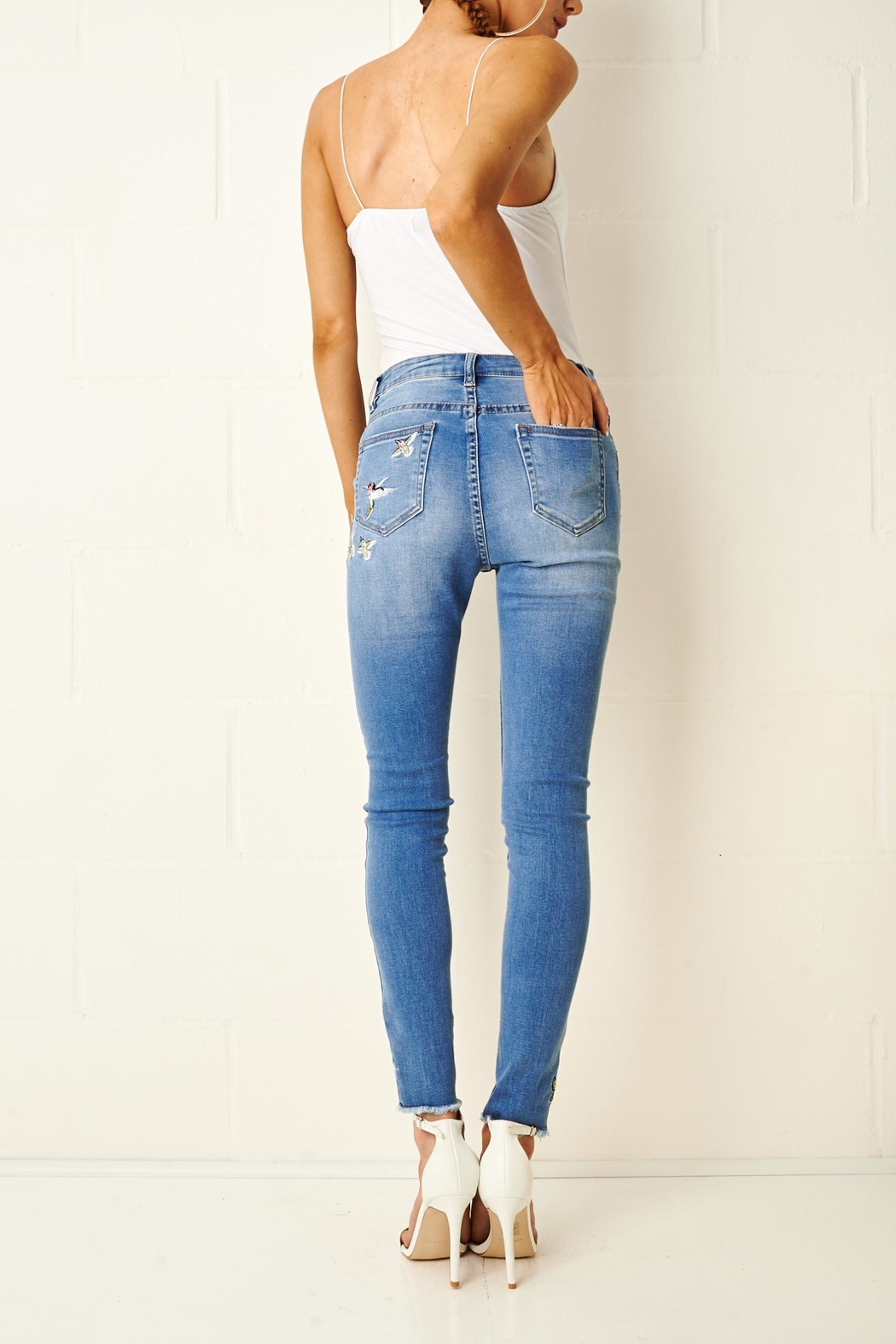frontrow Embroidered Skinny Jeans - Back Cropped Image