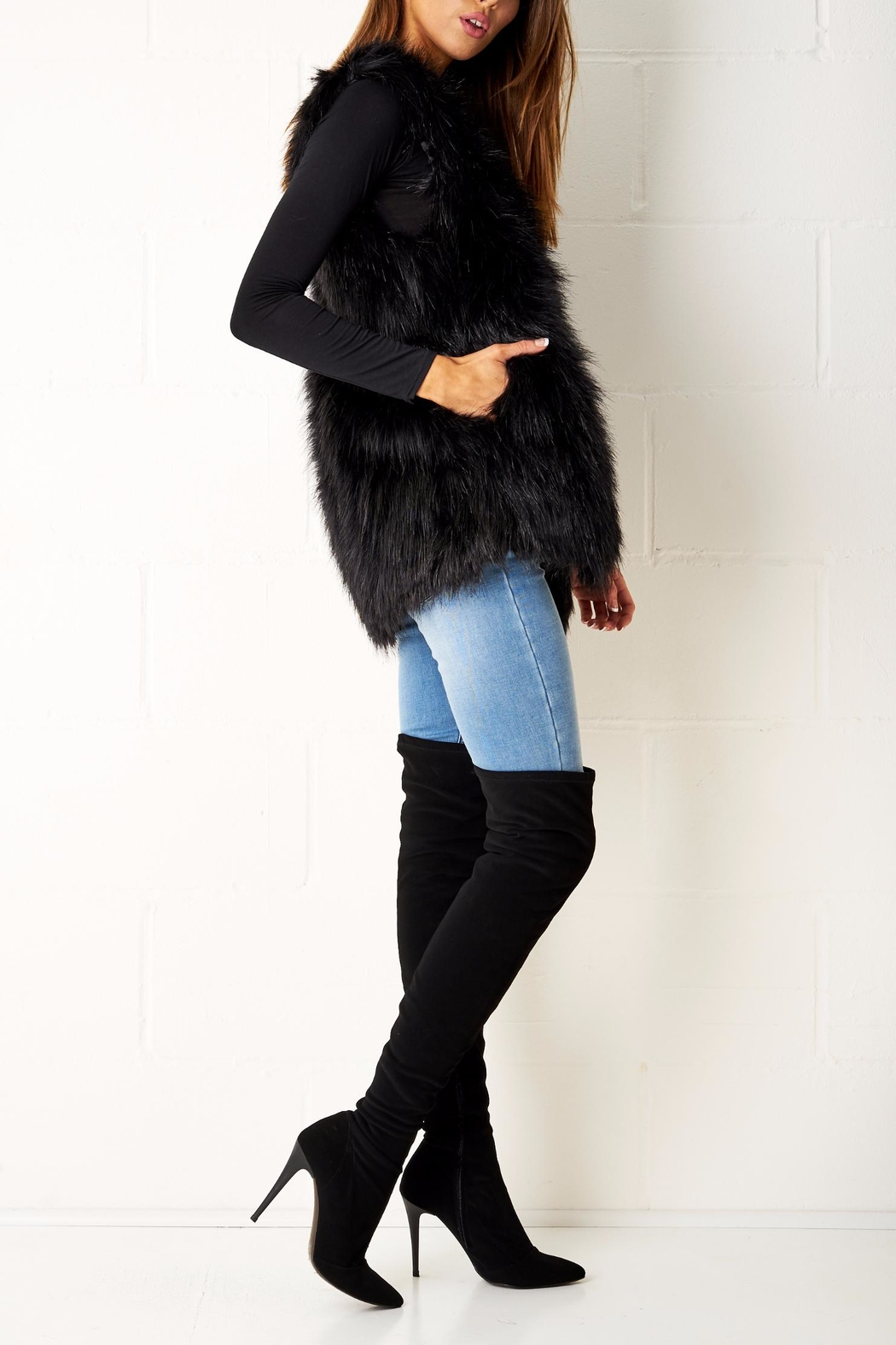 frontrow Faux Fur Gilet - Front Full Image