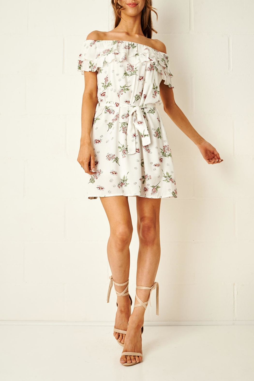 frontrow Floral Bardot Dress - Main Image