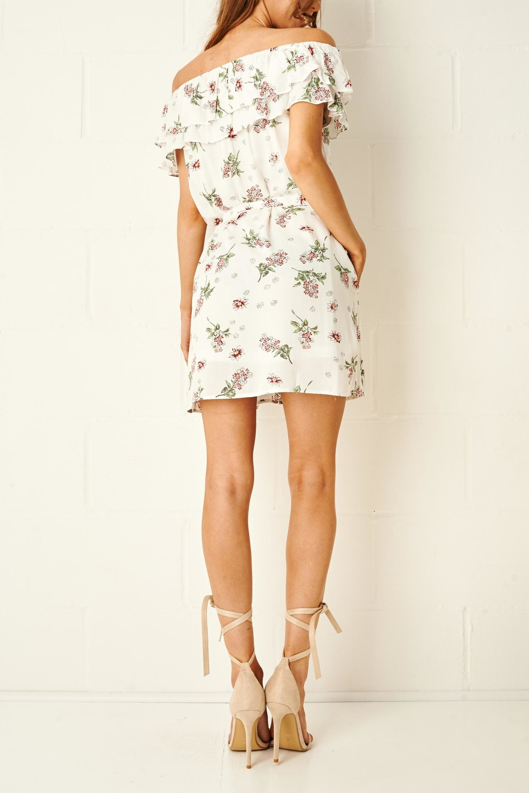 frontrow Floral Bardot Dress - Side Cropped Image
