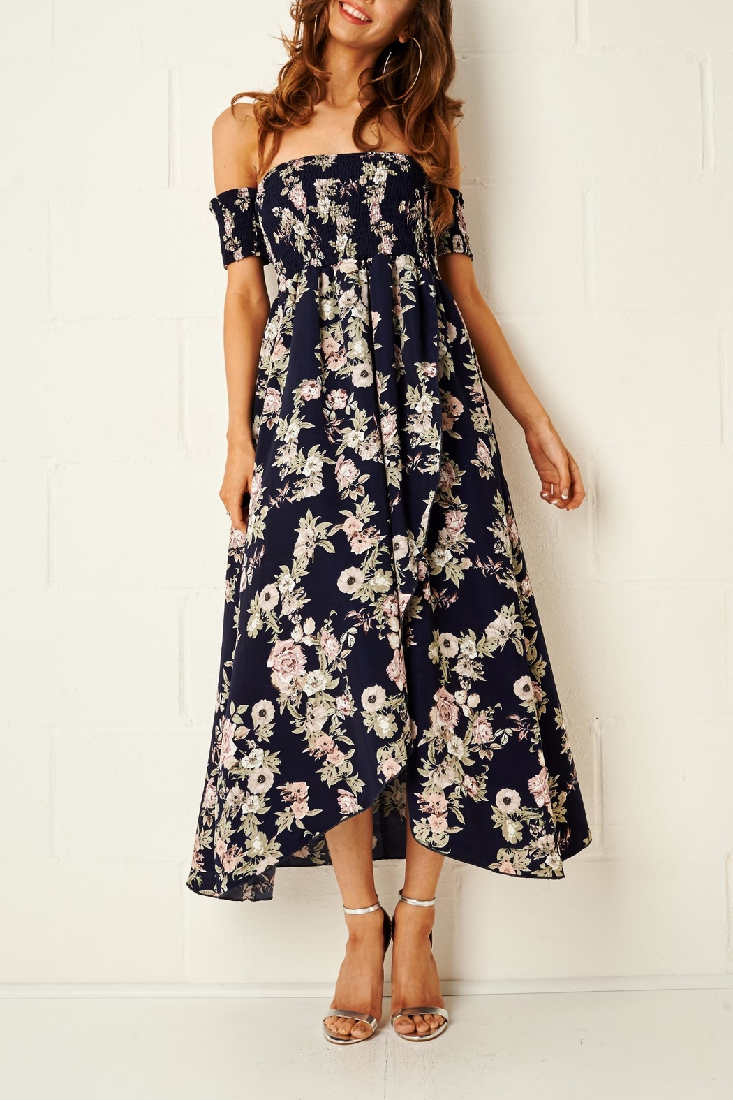 frontrow Floral Bardot Dress - Front Full Image