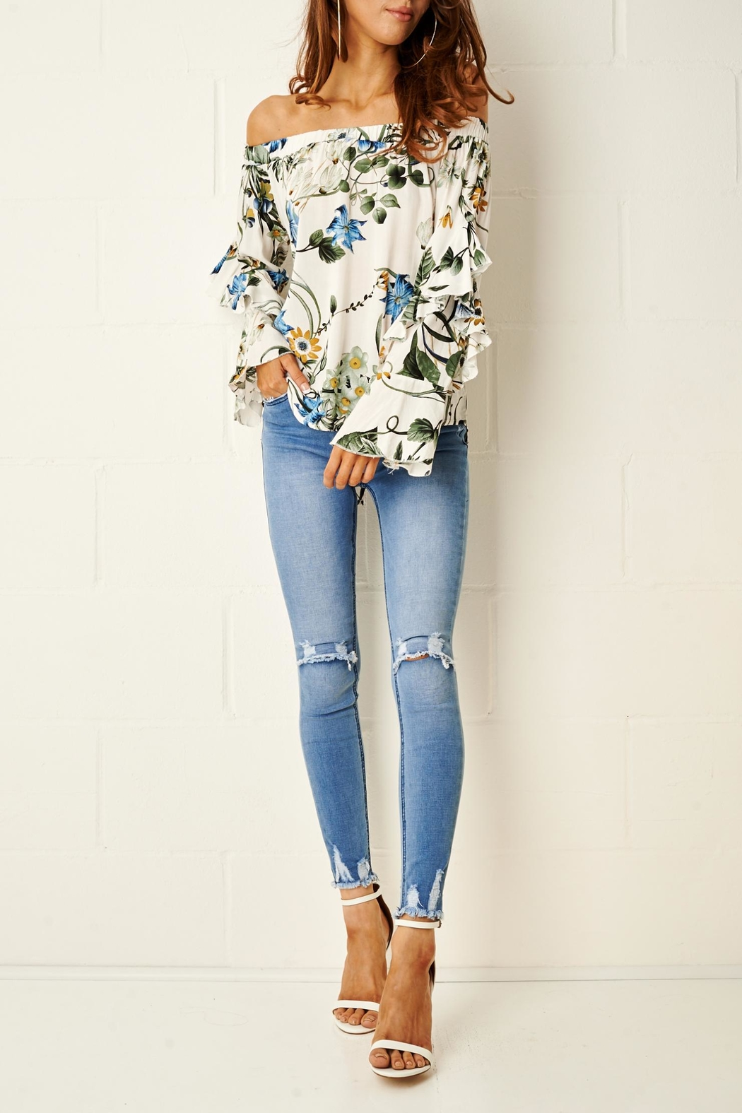 aab32b299b4612 frontrow Rheya Floral Bardot Top from Essex by Frontrow — Shoptiques