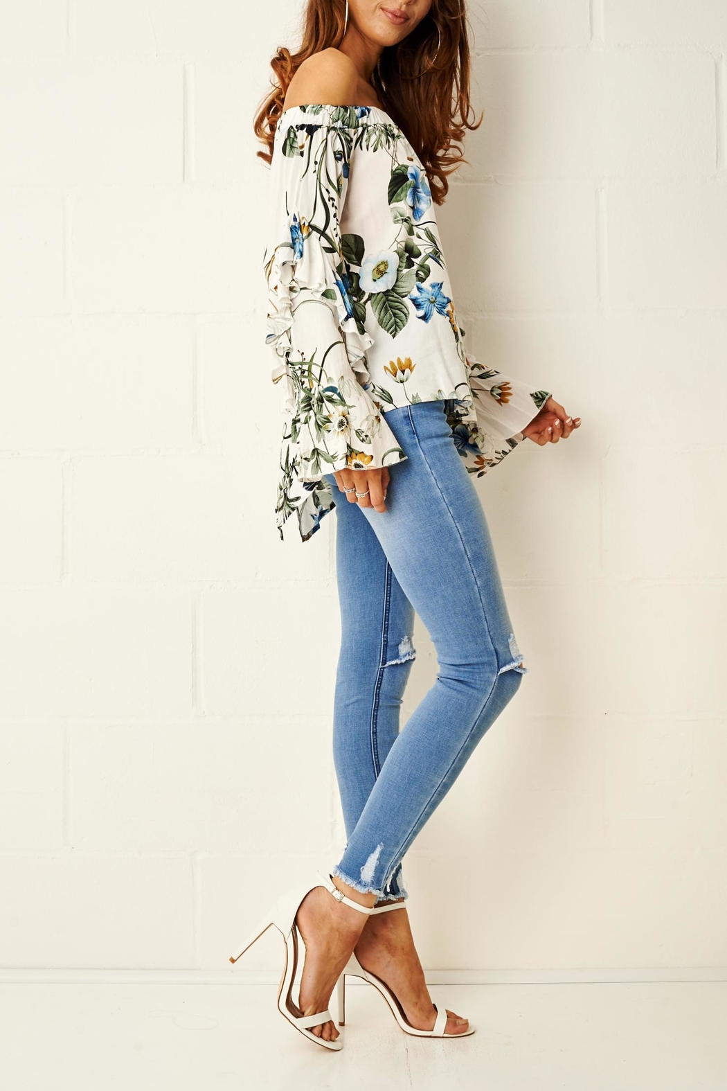frontrow Rheya Floral Bardot Top - Side Cropped Image