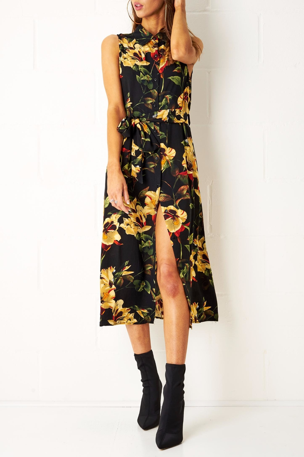frontrow Floral Shirt Dress - Front Cropped Image