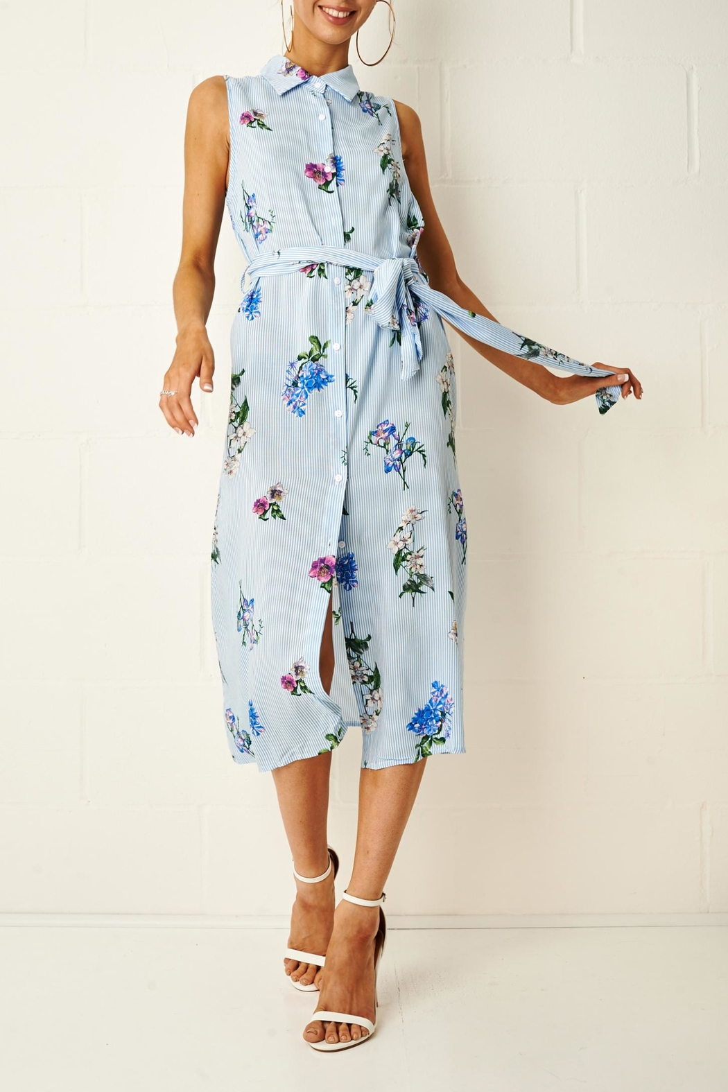 frontrow Corrine Floral Shirt Dress - Front Full Image