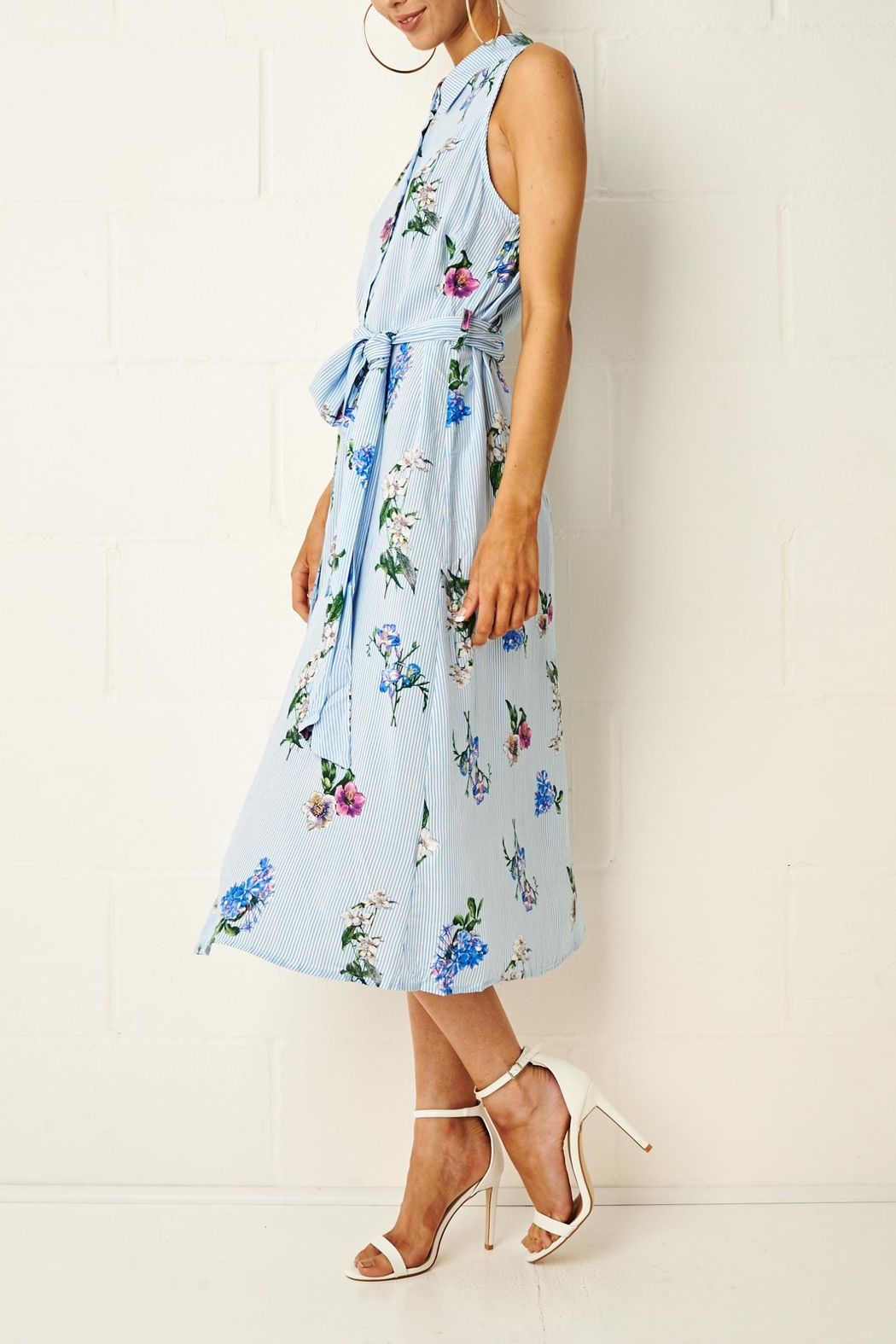 frontrow Corrine Floral Shirt Dress - Back Cropped Image