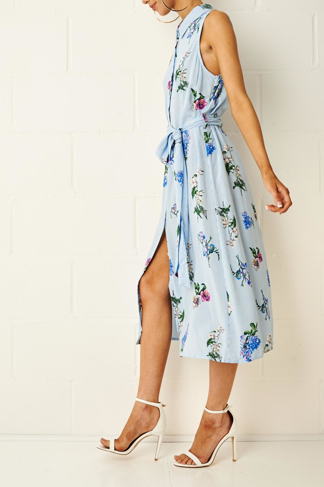 frontrow Corrine Floral Shirt Dress - Side Cropped Image