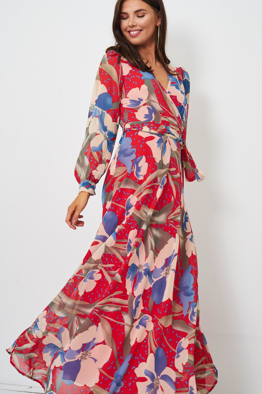 frontrow Floral Wrap Dress - Front Full Image
