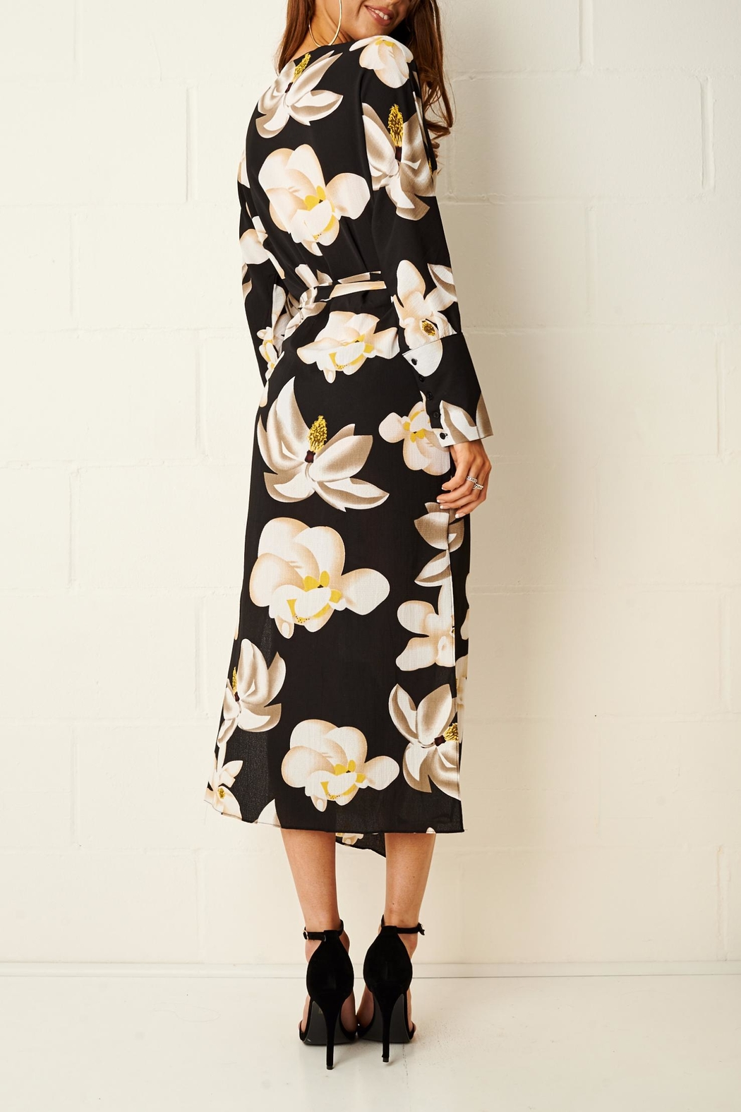 frontrow Floral Wrap Dress - Back Cropped Image
