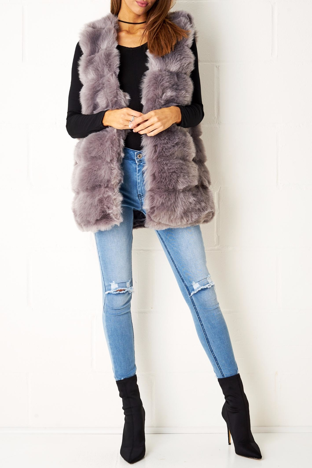 frontrow Fur Gilet Grey Vest - Front Cropped Image