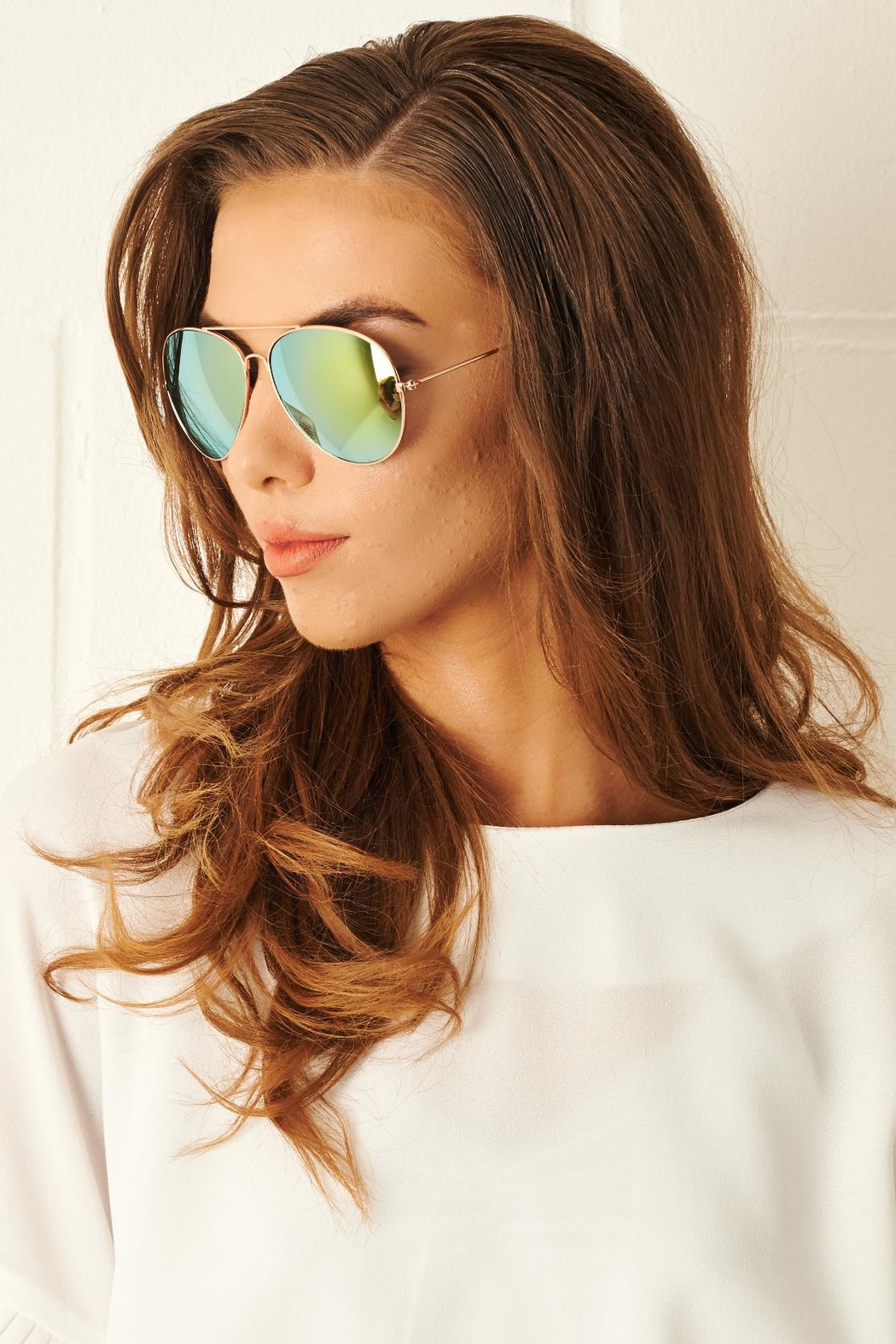 frontrow Gold Aviator Sunglasses - Main Image