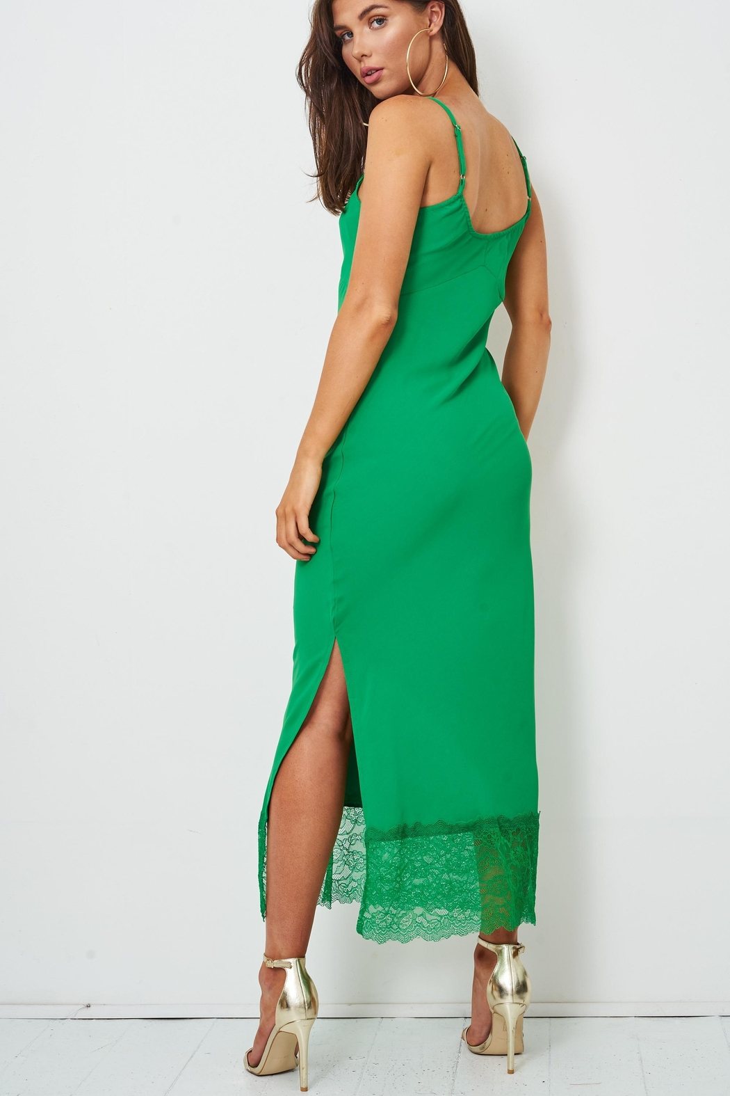 frontrow Green Lace Slip Dress - Back Cropped Image
