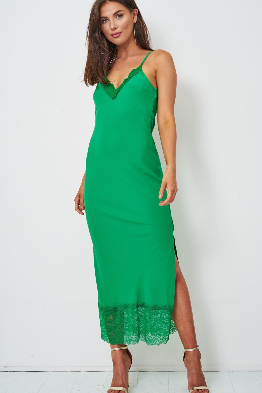 frontrow Green Lace Slip Dress - Main Image