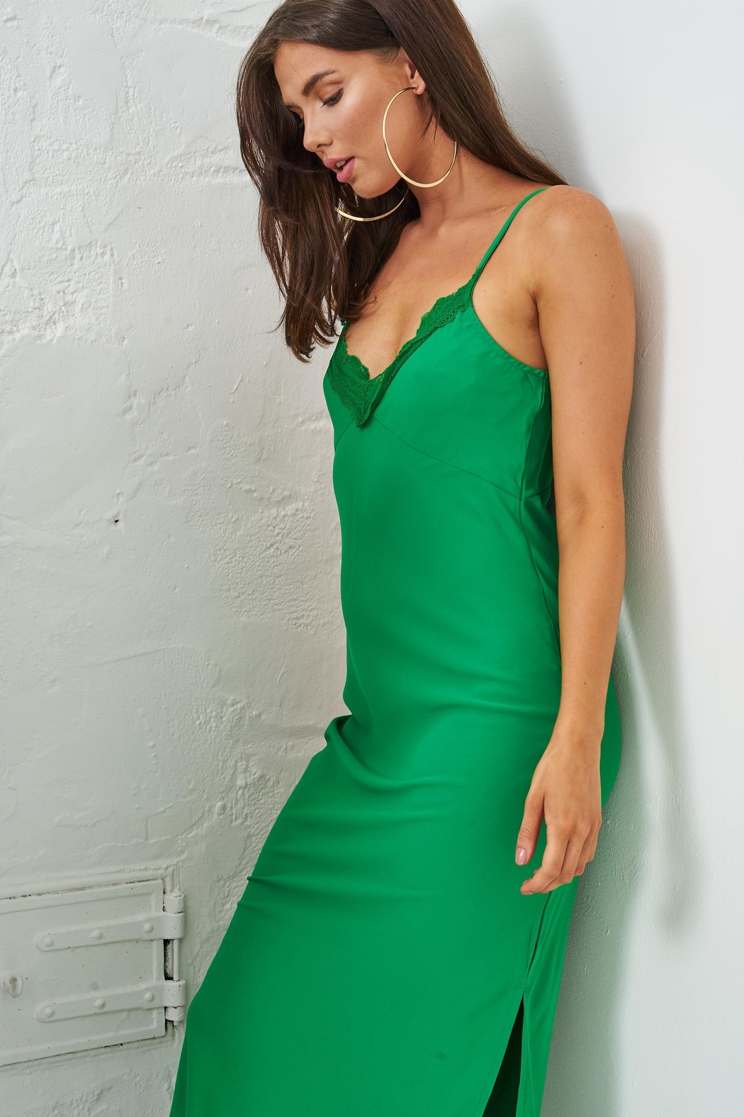 frontrow Green Lace Slip Dress - Side Cropped Image