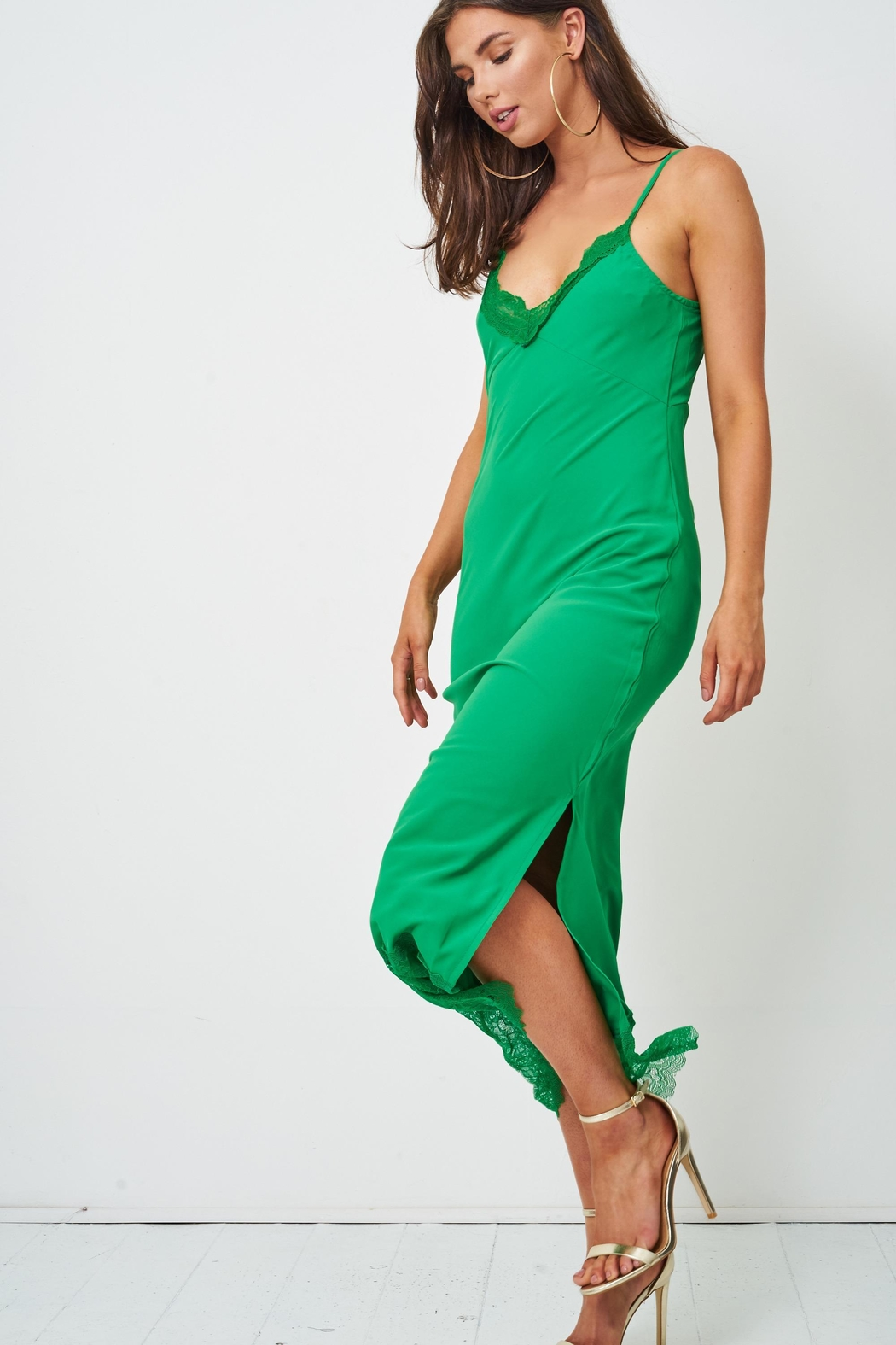 frontrow Green Lace Slip Dress - Front Full Image