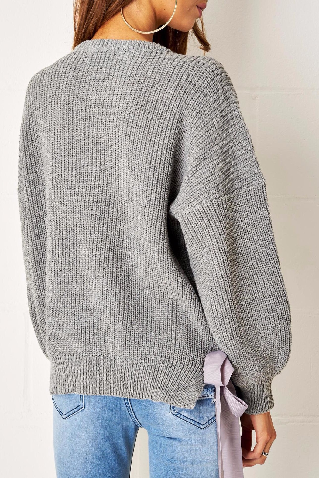 frontrow Grey Lace Up Jumper - Side Cropped Image