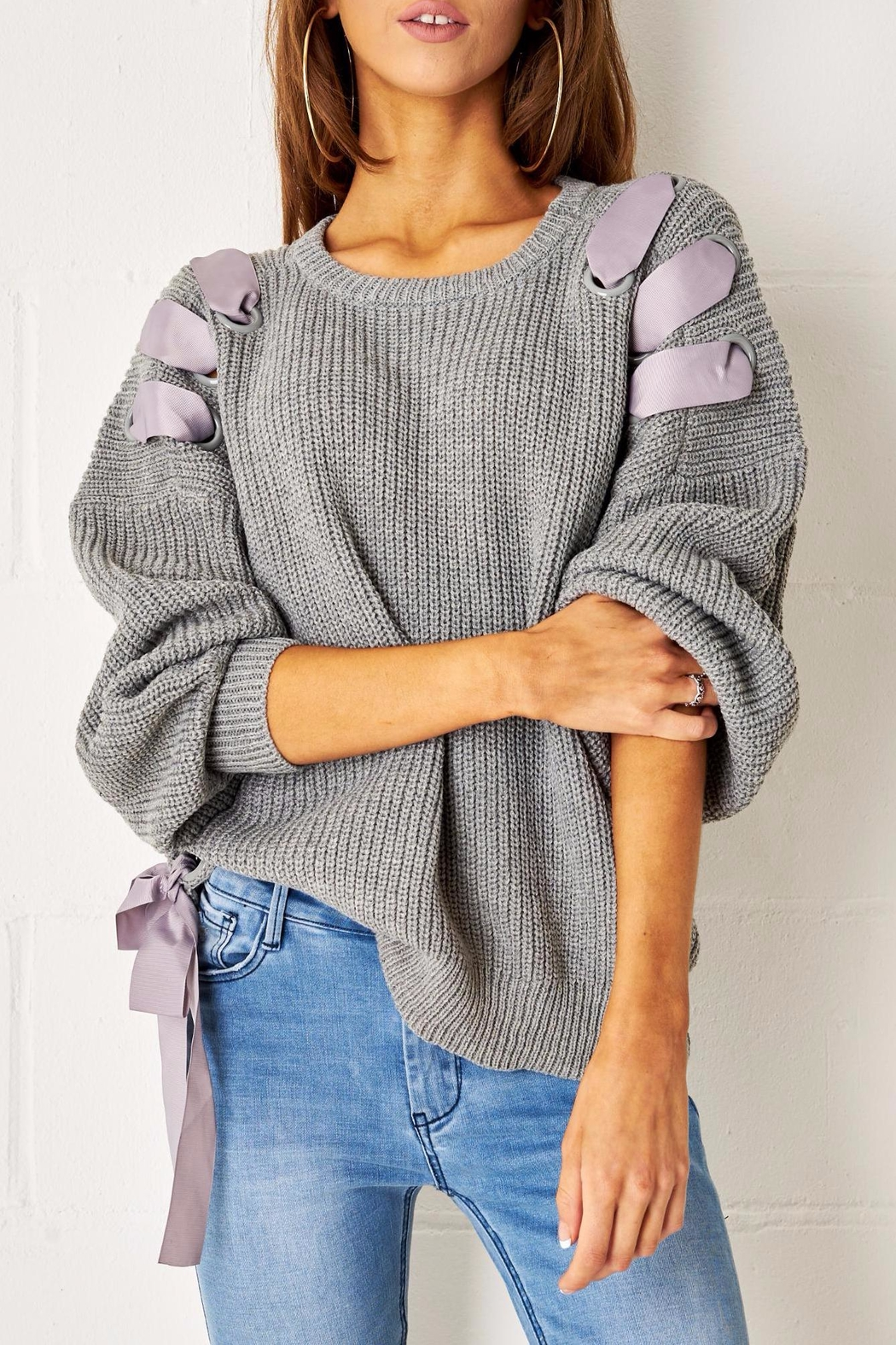 frontrow Grey Lace Up Jumper - Main Image