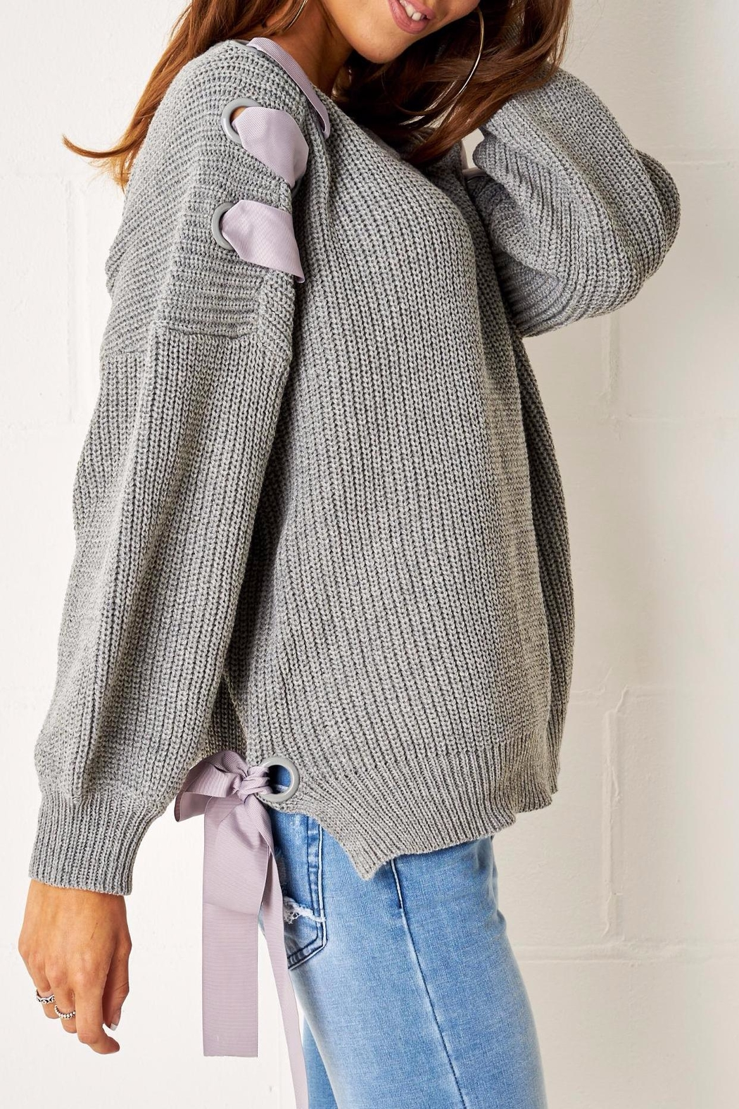 frontrow Grey Lace Up Jumper - Front Full Image