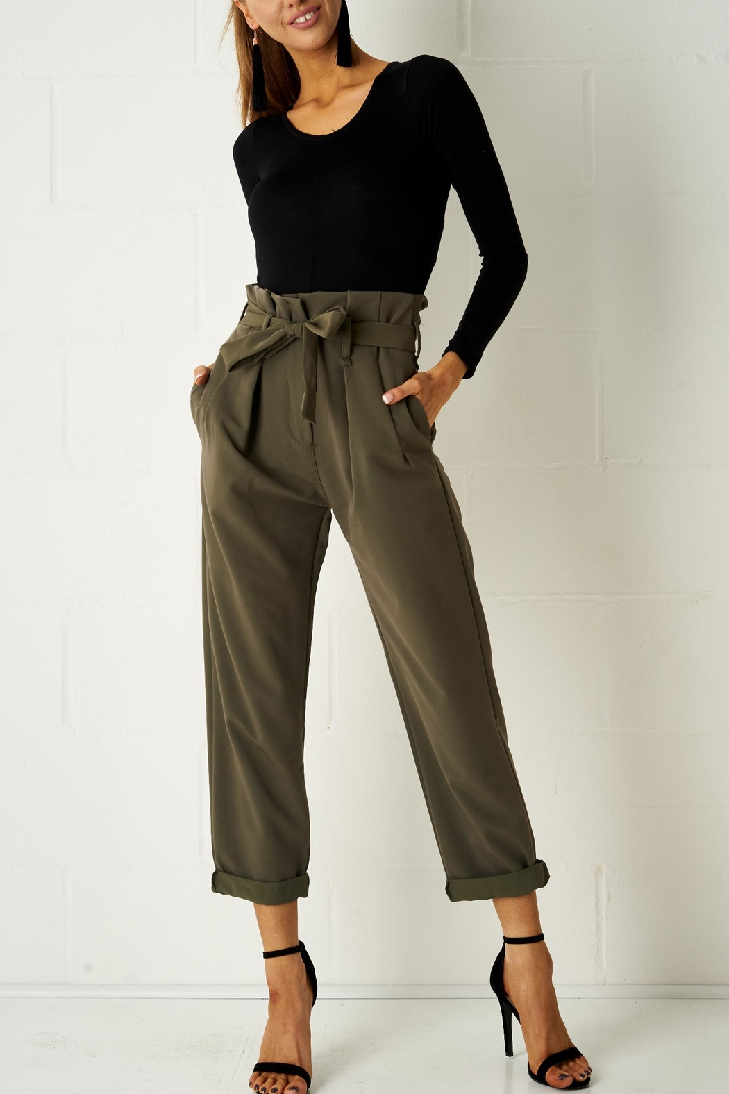 frontrow Khaki Paperbag Trousers - Front Full Image