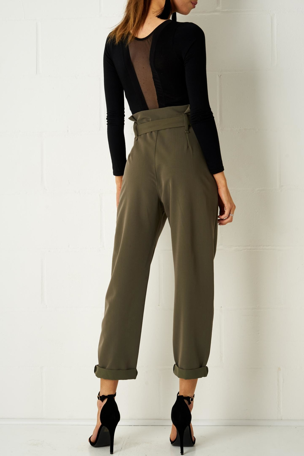 frontrow Khaki Paperbag Trousers - Side Cropped Image