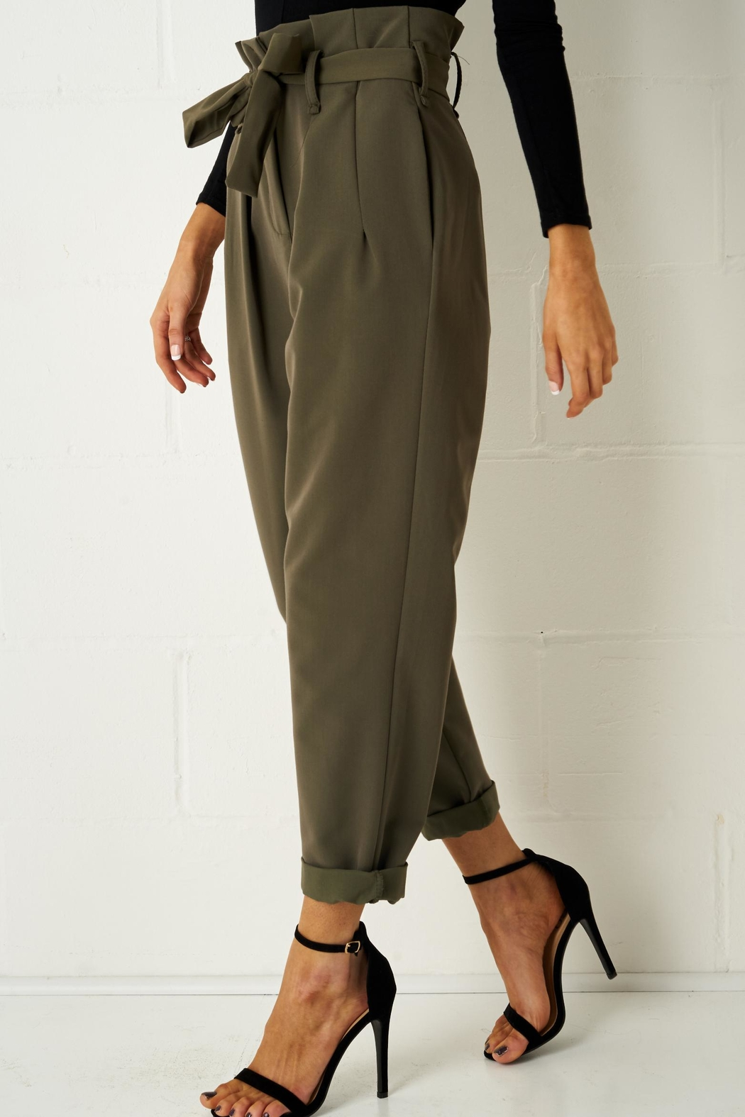 frontrow Khaki Paperbag Trousers - Main Image
