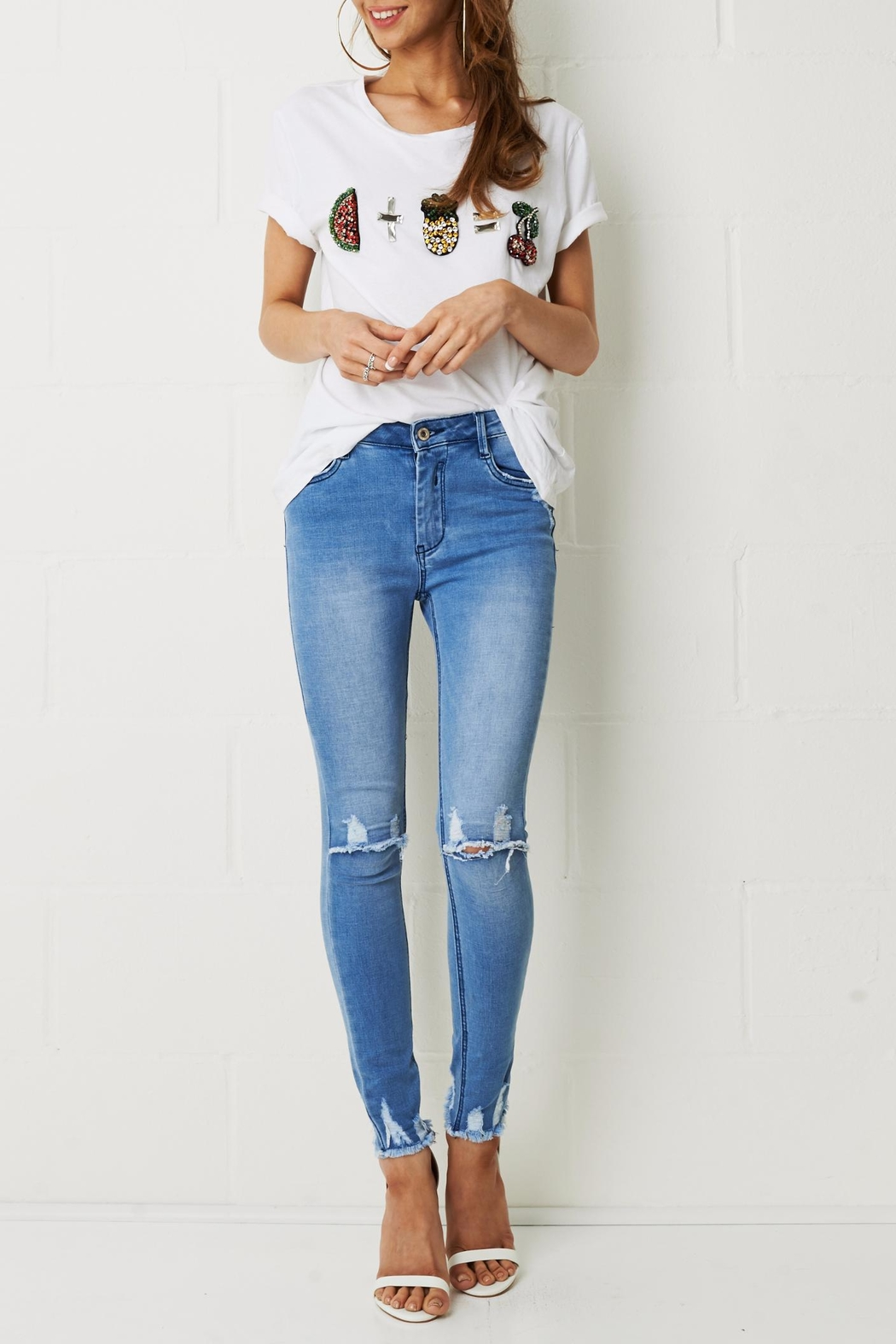 frontrow Knee Rip Jeans - Front Full Image